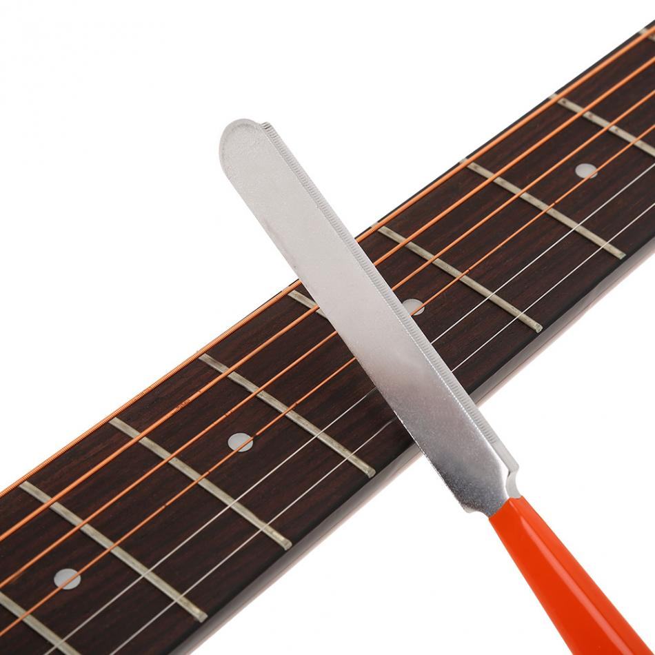 Stainless Steel Guitar File Dual Cutting Edge Tool Fret Board Crowning File Notched Straight Edge Guitar Leveling Tool guitar fret crowning file dressing file with 3 edges 1mm 2mm and 3mm luthier tool