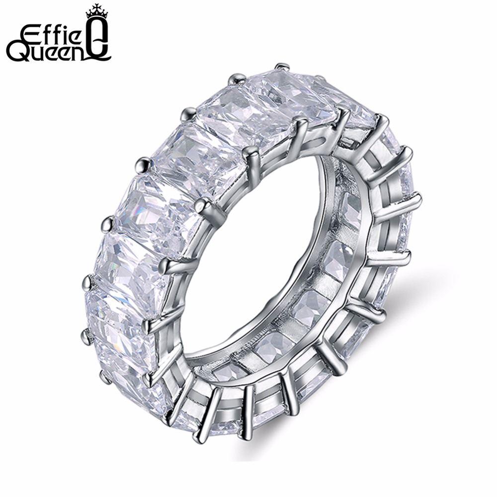Effie Queen 2017 Row Crystal Jewelry Wedding Ring 3 Layer Rhodium Plated Fashion Rings For Women
