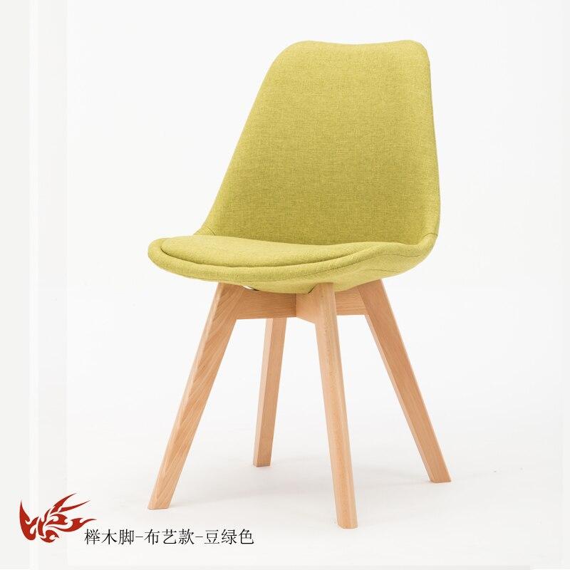 Простой стул Мода нордическая ткань; Массивная древесина обеденный стул кофе отель встречи, чтобы обсудить домашний табурет - Цвет: 9