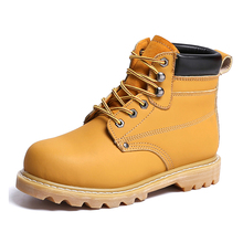 Leather Men Steel Toe Cap Safety Shoes Winter Military Timber Work Boots Anti-Puncture Breathable Hiking Shoes