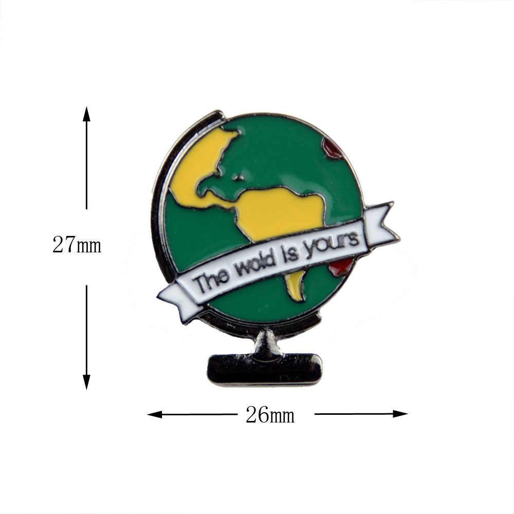 โลกเป็นของคุณ enamel pin world แผนที่ badge travel lapel pin เข็มกลัด