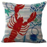 Factory Supply Mediterranean Style Seahorse Octopus Series Linen Throw Pillow Cushion Capa Almofada For Chair Seat Hotel Decor