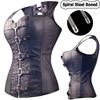 Black Spiral Steel Boned Steampunk Overbust Corset Bustier Top Dress SEXY G String Lingerie Women Corsets