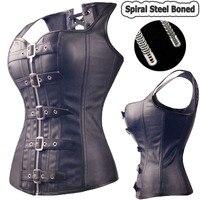 Siyah Spiral Çelik Kemikli Steampunk Overbust Korse Büstiyer Üst Elbise SEKSI G-string Lingerie Kadın Korseler Artı Boyutu S-6XL