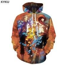 KYKU Brand One Piece Hoodie Men Monkey D Luffy Hooded Casual Flame Print War Hoody Anime Yin Yang 3d Printed Long Sleeve