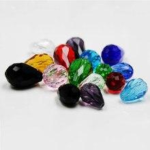 Высококачественные разноцветные хрустальные бусины в форме слезы, 10 шт., стеклянные бусины с отверстием, круглые бусины для изготовления юв...