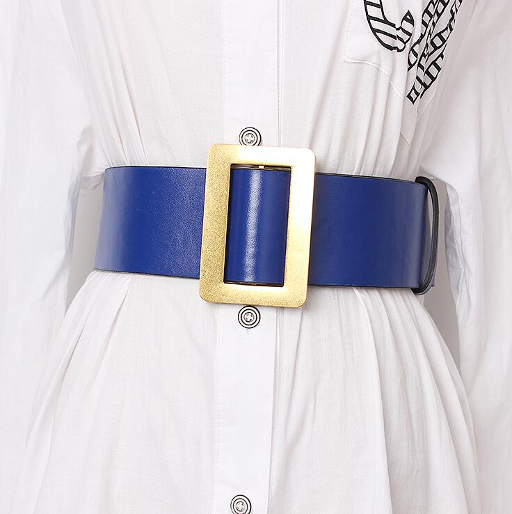 Women's Runway Fashion Pu Leather Cummerbunds Female Dress Corsets Waistband Belts Decoration Wide Belt R1682