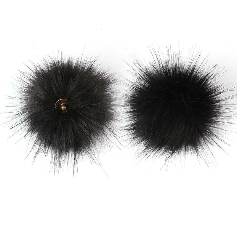 1 pc DIY Fofo Faux Fur Pom Pom Bola 8 centímetros Pompom De Pele Artificial com Chave Pressione o Botão para o Chapéu acessórios cadeias de Bola Decorado