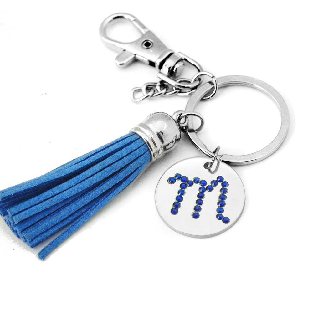 US $4 99 |Tassel Keychain,Letter Key Chain,Personalized Tassel Key  Ring,Engraved Date Disc Keychain,Crystal Initial Keychain,Gift for her-in  Key