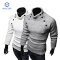 Men's Sweaters Retro Decorative Buttons Male Solid Color High-necked Collar Sweater Warm Casual Dress Casual Premium Stylish