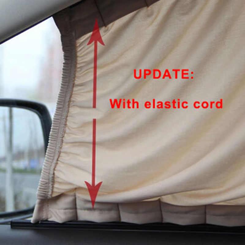 2 x Update 70L Aluminum Alloy Elastic Auto Car Side Window Sunshade Curtain Sun Visor Blinds- Black/Beige/Gray