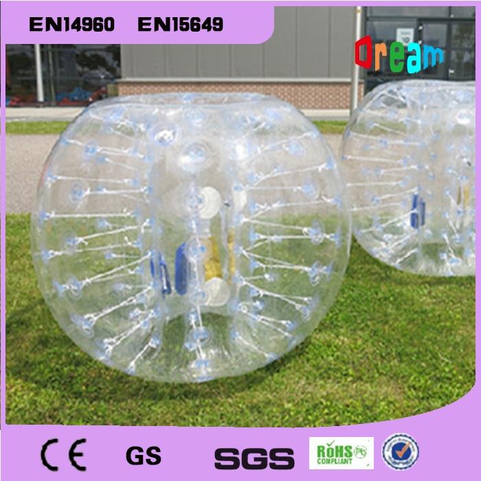 Livraison gratuite gonflable humain butoir bulle ballon de football jouets 1.5 m TPU balle bouclée pour plein air plaisir Sports corps Zorb balle jouet