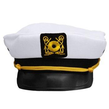 Vintage Weiß Skipper Sailors Navy Kapitän Bootfahren Military Yacht Hut Kappe Erwachsene Partei Phantasie Kleid Unisex Kostüm