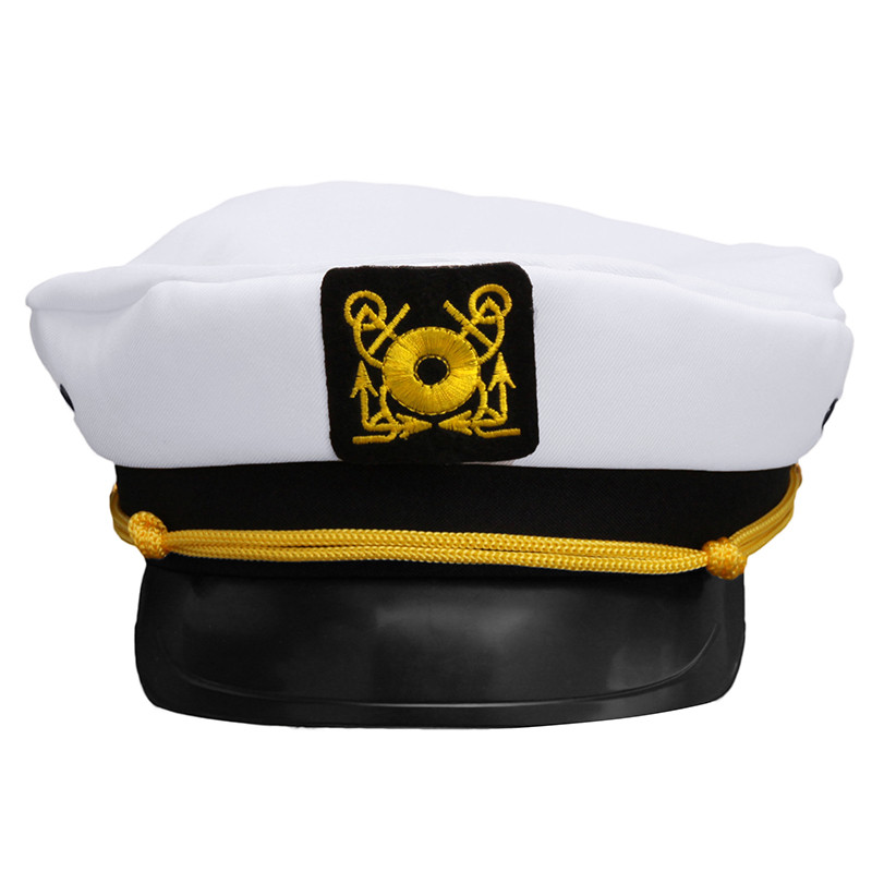 Vintage White Skipper Sailors Navy Captain Boating Military Yacht Hat Cap Adult Party Fancy Dress Unisex Costume High Safety
