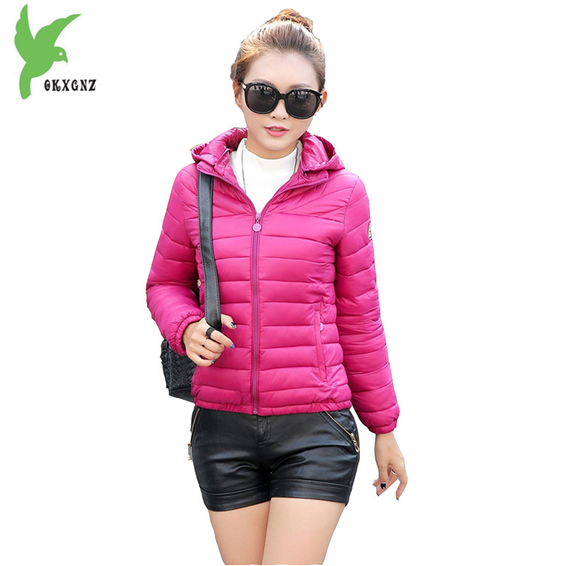 Winter Women Cotton Jacket New Fashion Solid Color Warm Down Cotton Short Coat Plus Size Hooded Slim Casual Outerwear OKXGNZ 790 winter women s cotton coats solid color hooded casual tops outerwear plus size thicker keep warm jacket fashion slim okxgnz a712