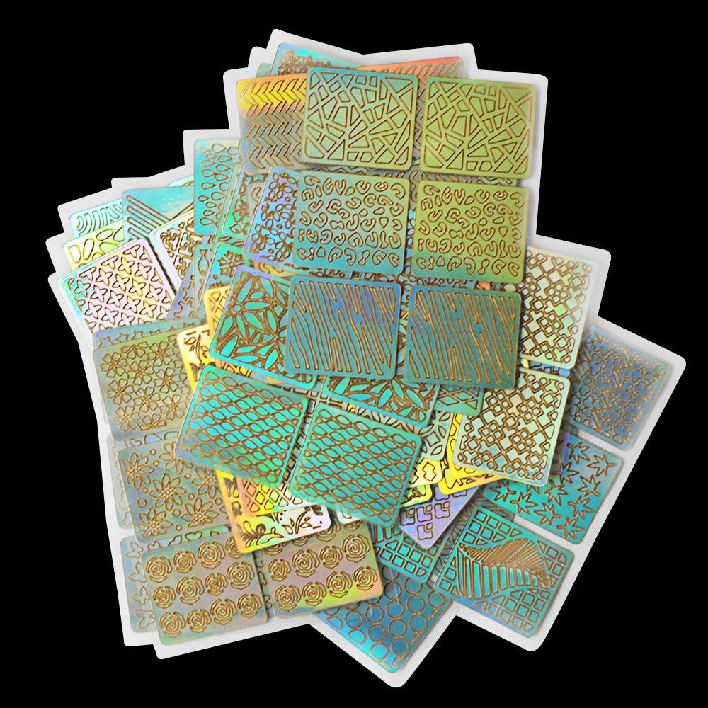 DIY Nail Vinyls Hollow Irregular Grid Stencils Stamp Nail Art ...