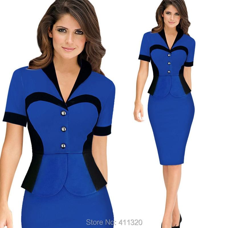 Womens Elegant Business Suits Blazer with Skirt Formal Office Uniform Designs Women Lapel Colorblock Knee Length Pencil Dress (8)