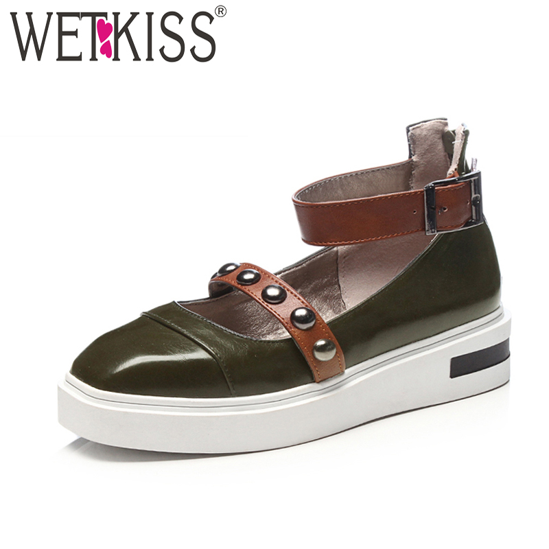 WETKISS New Spring Fashion Ladies Flats Ankle Strap Buckle Rivet Platform Square Toe Footwear 2018 Zipper Casual Women Shoes new 2017 spring summer women shoes pointed toe high quality brand fashion womens flats ladies plus size 41 sweet flock t179
