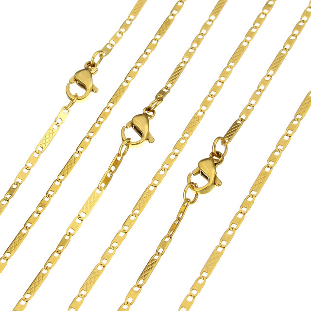 YYW Hot Womens Man Jewelry Fashion Gold-color Stainless Steel Chain Necklace 50cm Long Figaro Chain Sweater Necklace Punk Men