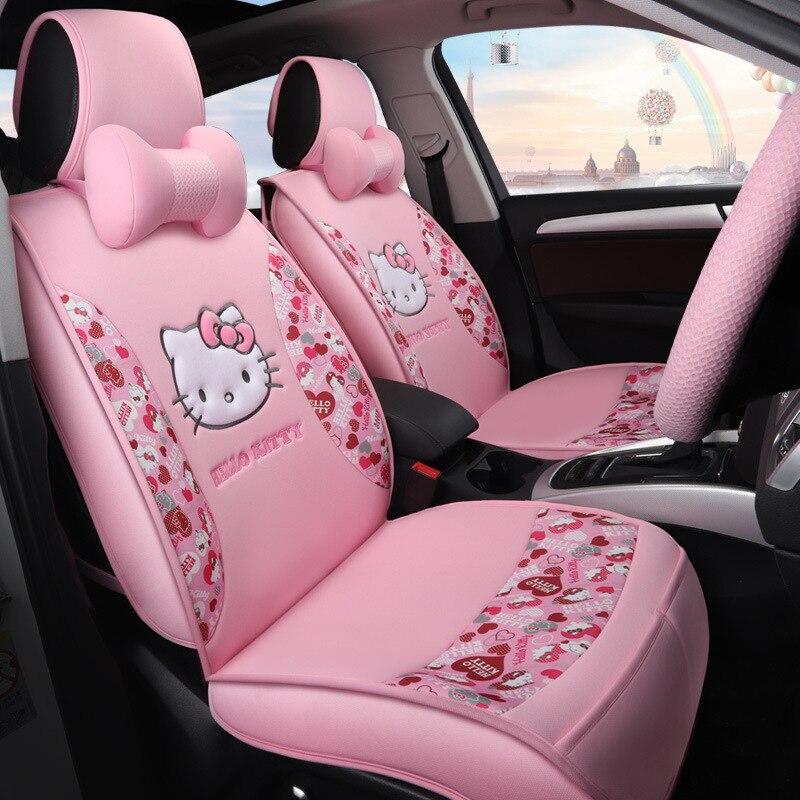 Di modo CIAO KITTY Fundas Coche Asiento Universale Copertura di Sede Dell'automobile Universale Rosa Car Seat Cover Ciao Kitty per 5 Posti
