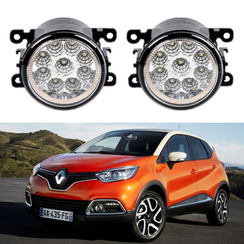 Car-Styling For Renault Captur 2013 2014 2015 9-Pieces Led Fog Lights 12V 55W Fog Head Lamp microfiber leather steering wheel cover car styling for renault scenic fluence koleos talisman captur kadjar