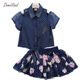 2017 de moda de verano niños ropa conjuntos niños niña outfitsPolka Dot Gasa tops de algodón de manga corta trajes de falda ropa
