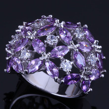 Adorable Purple Cubic Zirconia White CZ 925 Sterling Silver Ring For Women V0495