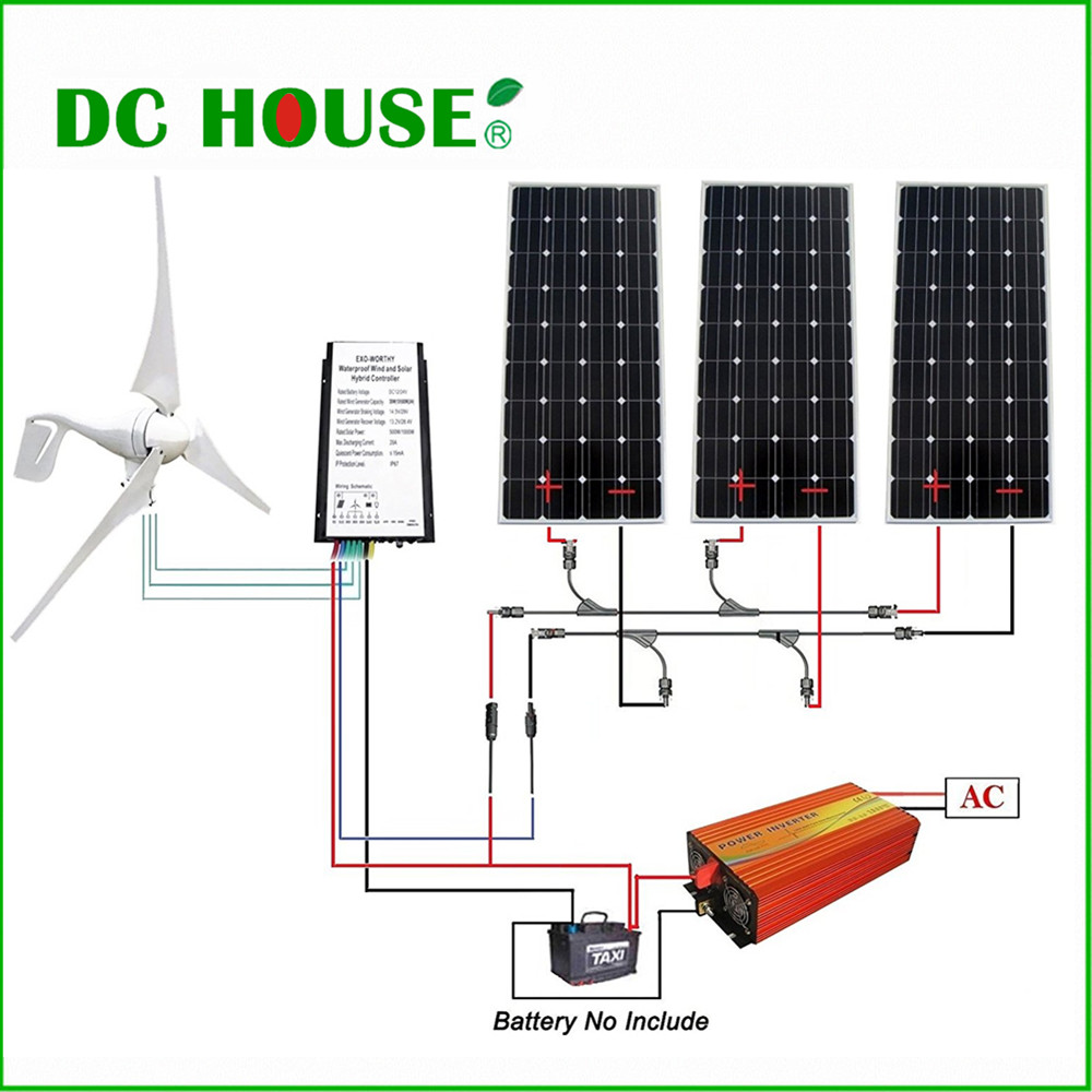 DC HOUSE 800W Kit Wind Turbine 400W Wind Generator 3pcs 160W Solar Panel 1000W Inverter 6pcs 100w flexible solar modules 400w vertical wind generator with 4000w inverter and controllers 1000w wind solar power system
