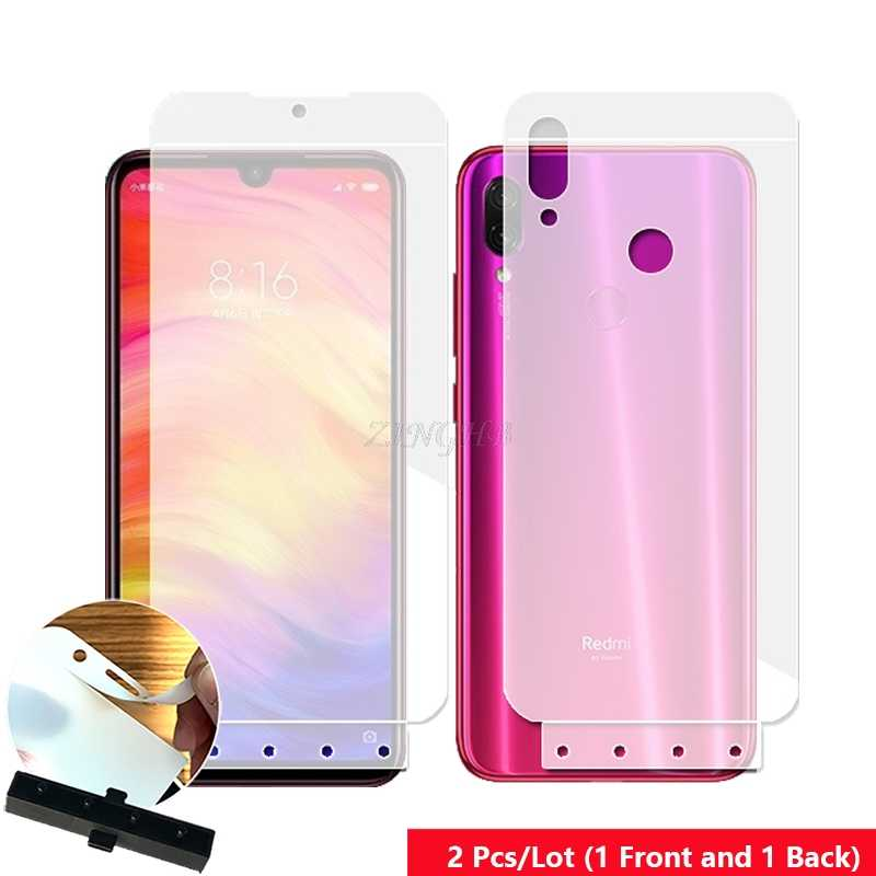 2 Pcs/Lot Front & Back Auto Fixed Scratch Proof Anti Finger Hydrogel Screen Protector for Xiaomi Redmi Note 7 Full Cover film