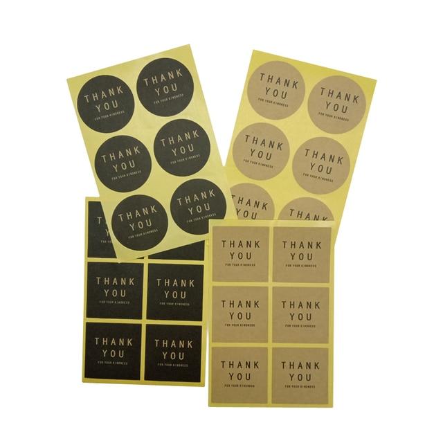 60 unidades/pacote Novo obrigado Círculo Quadrado Bolo Feito À Mão Etiqueta De Selagem De Embalagens Kraft Adesivo Cozimento DIY Etiquetas Do Presente 4 seleção