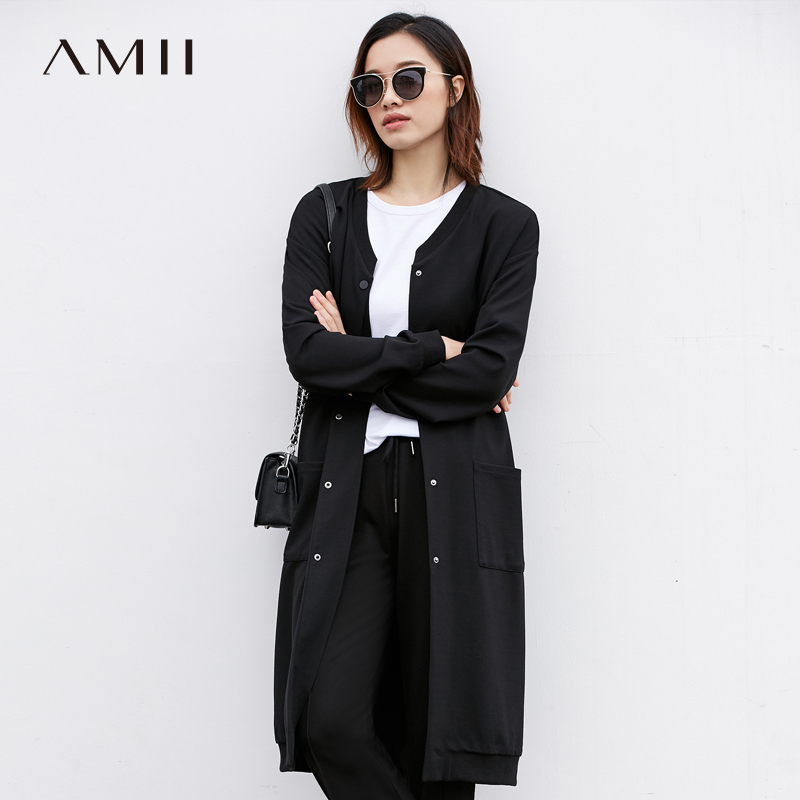 Amii Minimalist Women   Trench   Coat 2019 Solid Embroidery Long Button Female   Trench   Coats
