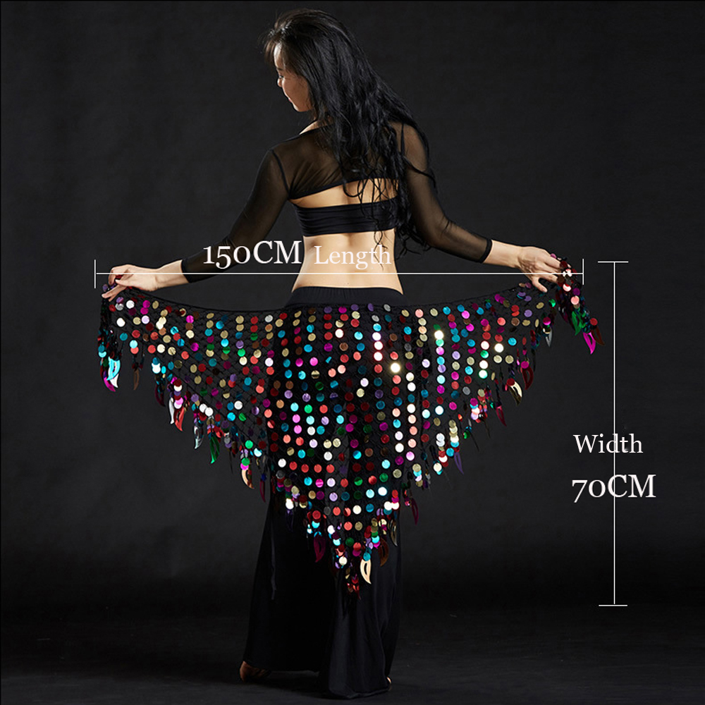 Women Belly Dance Clothes Sexy Big Sequins Belly Dance Scarf Lady Dance Accessories Girls Belly Dance Waist Belt Hip Scarf