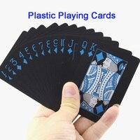 1 Deck Black Waterproof Plastic Playing Cards Deck Set Magic Tricks Props Poker Cards Magic Props