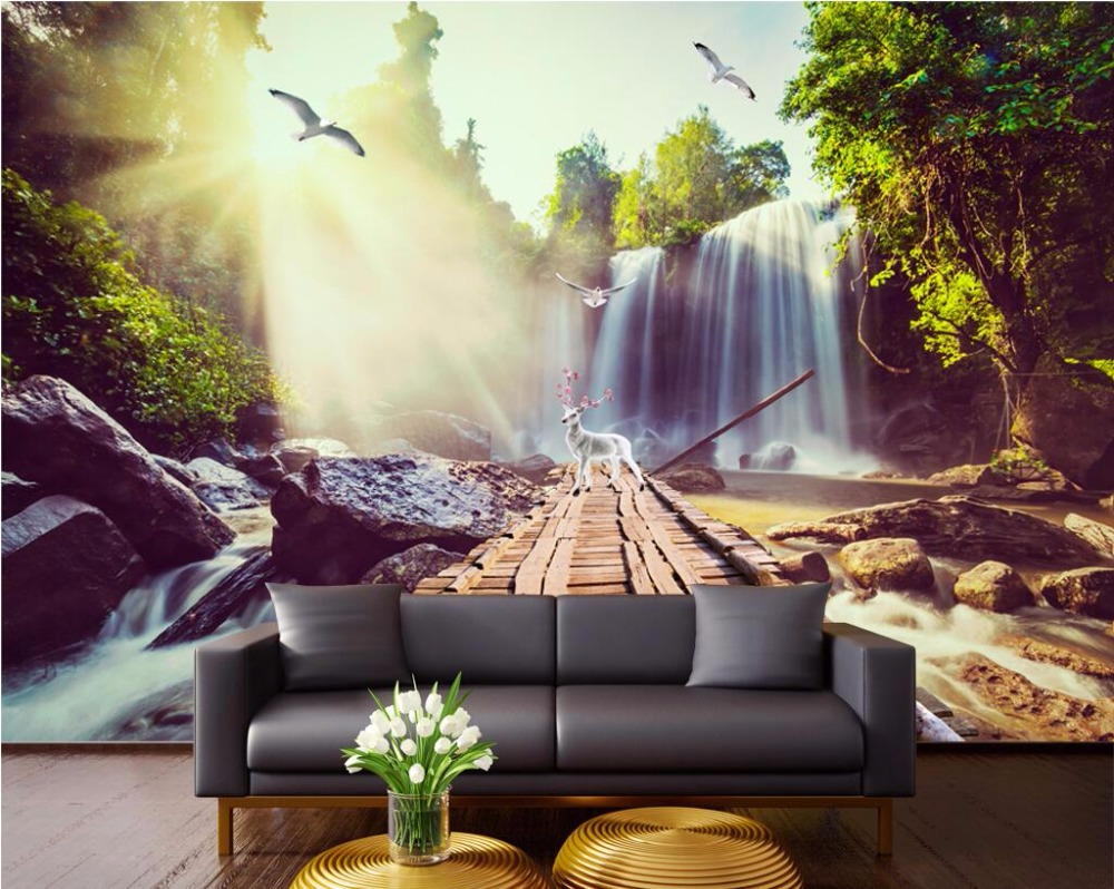 3d wall murals wallpaper for living room walls 3 d photo wallpaper Sun water falls home decor picture Custom mural painting 3d ceiling murals wall paper forest tree tops the sky painting decor photo 3d wall murals wallpaper for living room walls 3 d