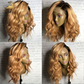 Two tone Peruvian Full lace human hair wig with Baby Hair glueless lace front wigs ombre color human hair wig