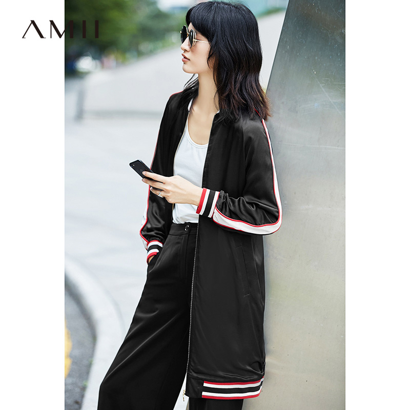 Amii Casual Women Jacket 2018 Stripe Baseball Long Zipper Female Jackets ...