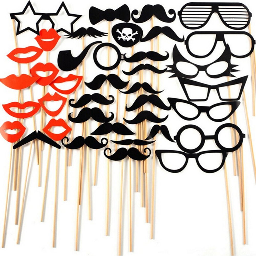 N2HAO 38 PCS/Set Fun Photo Booth Prop Lip Colorful Card On A Stick ...