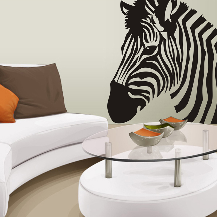 Large Zebra Wall Stickers Wall Decor Wall Covering Home Decor Free Shipping  Decal(China (