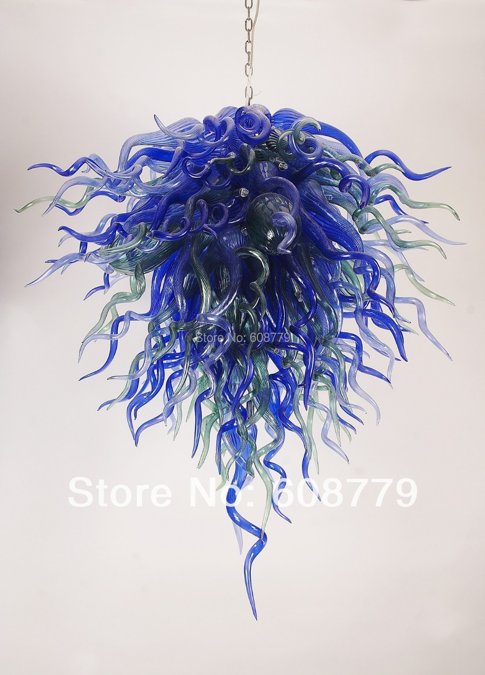 Hot Sale Majestic Lighting 100% Handmade Glass Chandelier In Blue