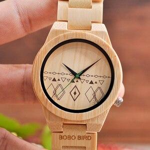 Image 3 - Relogio masculino BOBO kuş erkekler saatler bambu ahşap saatler kuvars kol saatleri ahşap kutu kabul Logo damla nakliye