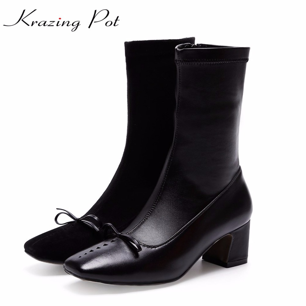 Krazing pot flannel cow leather stretch boots bowtie winter keep warm square heels beauty fashion superstar mid-calf boots L98 krazing pot flannel stretch boots winter keep warm wedges high heels leisure long legs beauty fashion over the knee boots l31
