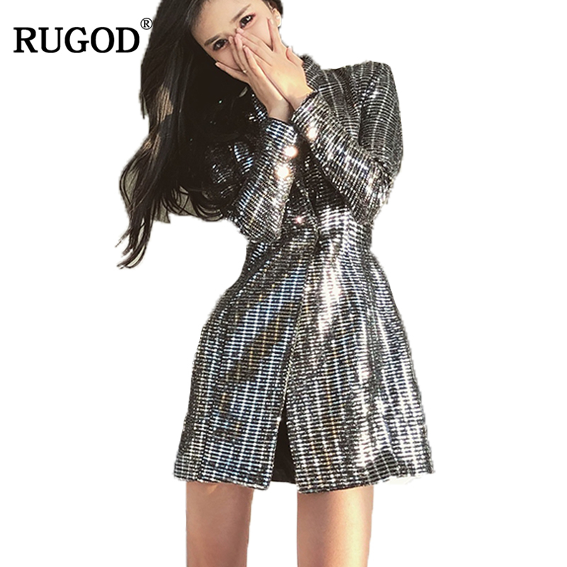 RUGOD Women's Office Jacket 2018 Spring New Silver Sparkly Sequined Long Blazer Jacket Women Notched Collar Long Sleeve Blaser