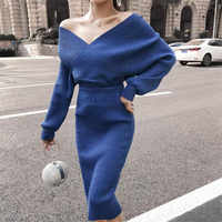 Maxdiroo Two Piece Set Women Autumn Winter Sweater Suit Bright Silk V Neck Lantern Sleeve Pullover Sweater +Pencil Skirt Suits