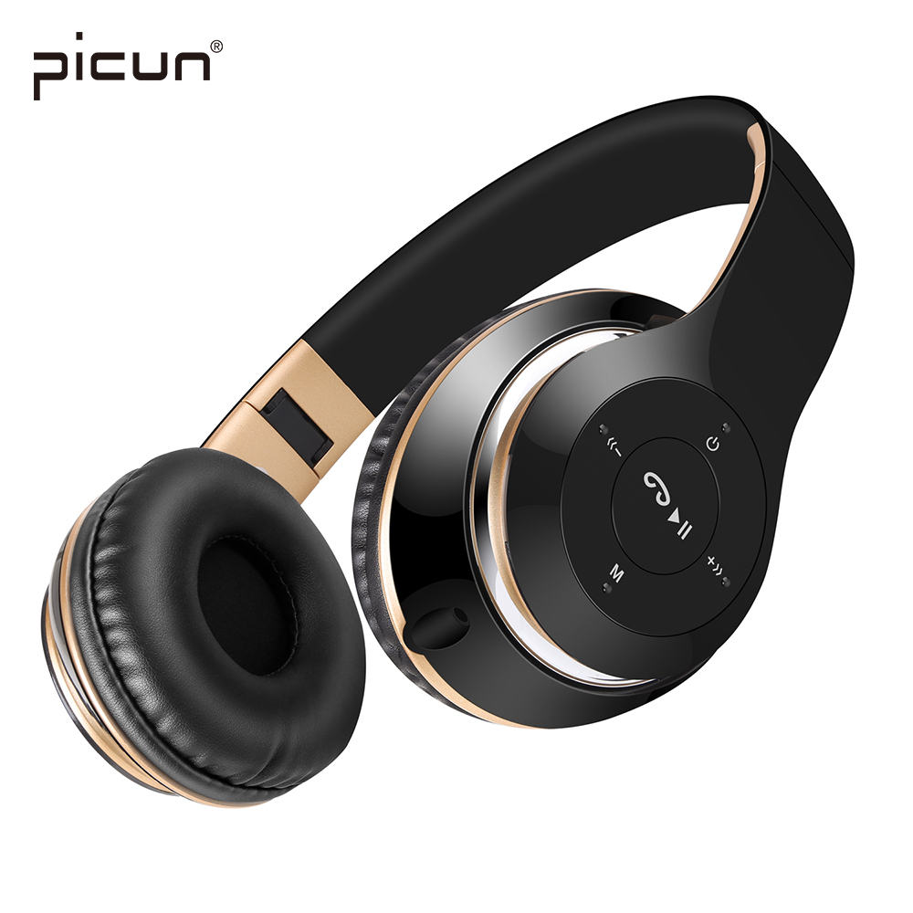 Picun BT-09 Bluetooth Headphones Wireless Headsets Stereo earbuds with Mic Support TF Card FM Radio For Gaming iPhone Xiaomi PC
