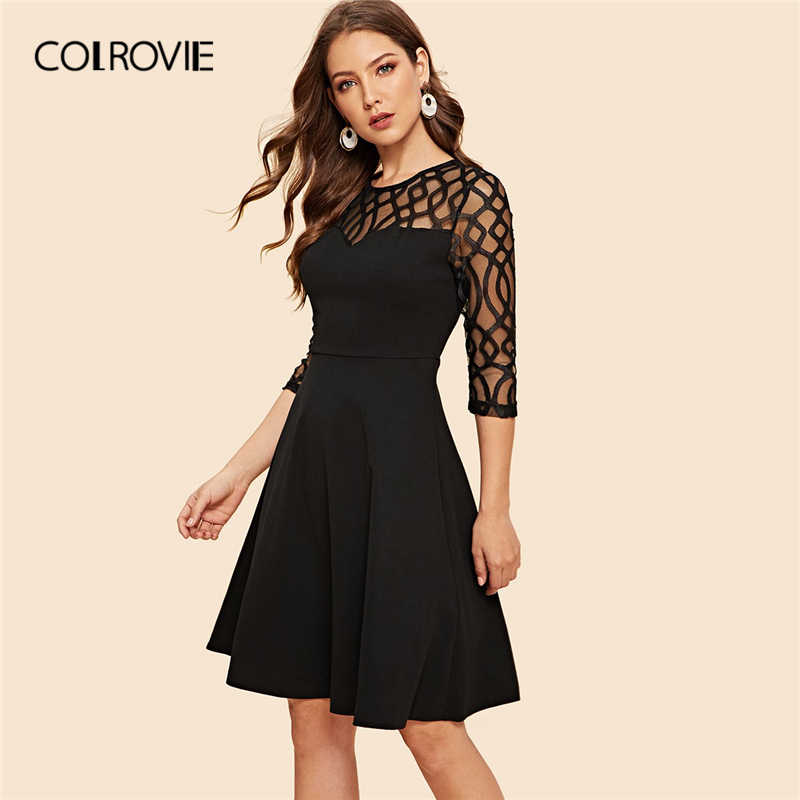 COLROVIE Black Solid Geo Mesh Sheer Button Party Dress Women 2019 Spring Vintage High Waist Short Dress Elegant Ladies Dresses