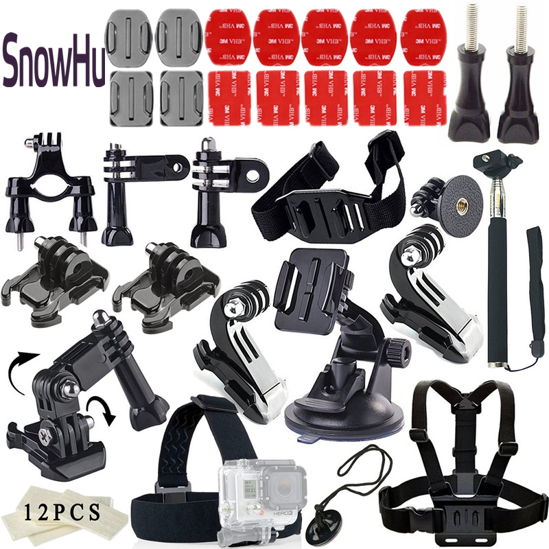 SnowHu Action Camera Accessories Set mount for GoPro Hero 6 5 4 3 for SJCAM SJ4000 for Xiaomi for Yi 4K for eken h9 TZ11 wordperfect® for windowstm