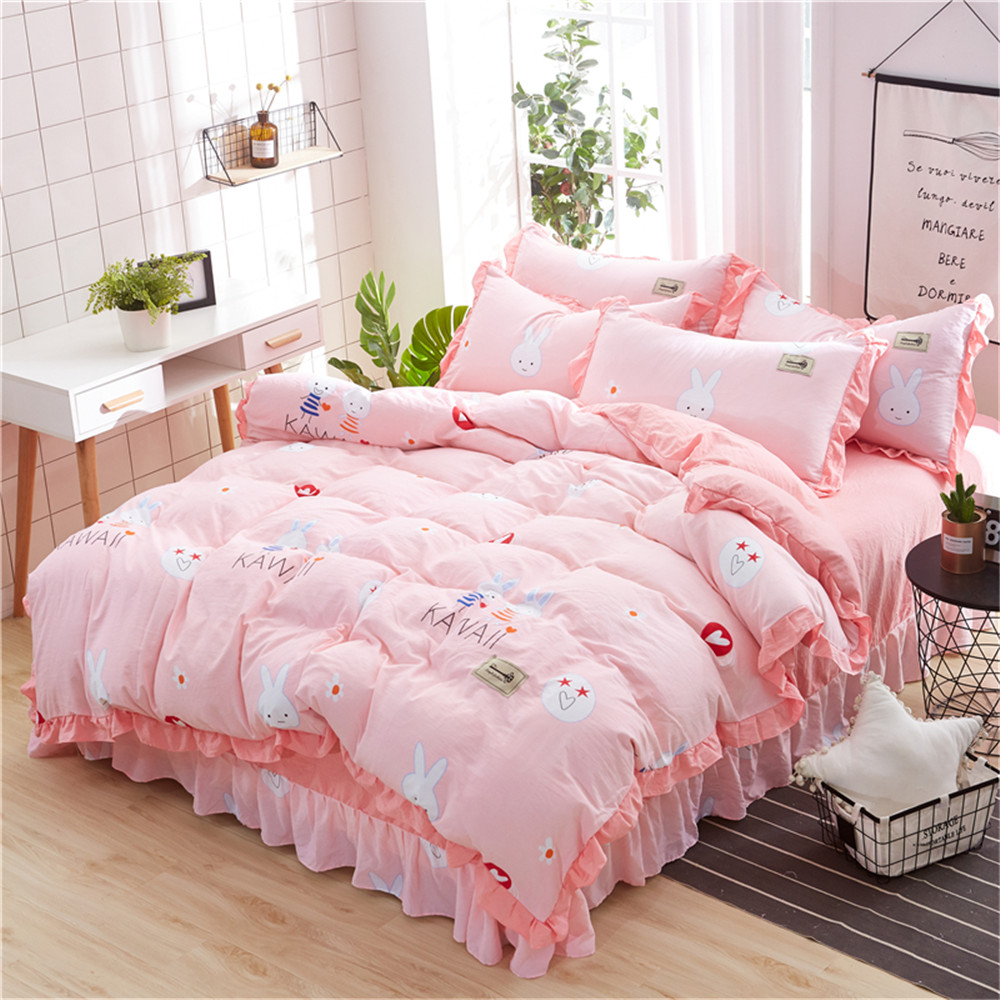 Pink Duvet Cover Us 75 Cute Chick Flower Pattern Home Textile Bedding Sets 3 4pcs Gray Bed Sheet Pink Duvet Cover Pillowcase Twin Full Queen King Size In Bedding