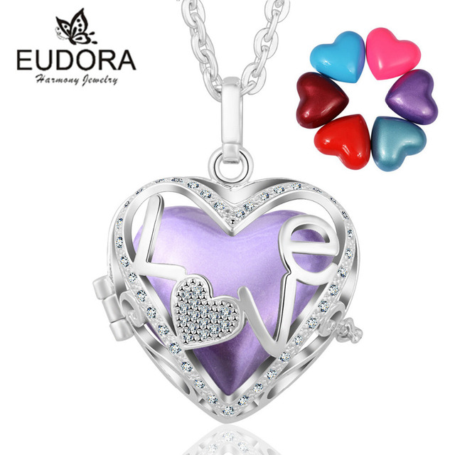 Harmony Bola Heart Silver Plated Pregnancy Locket Cage Pendant Necklace Angel Caller Colorful Love Chime Ball for Pregnant Women
