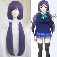 High Quality Anime LoveLive Love Live Nozomi Tojo 80cm Gray Purple Anime Cosplay Wig Hair Ring