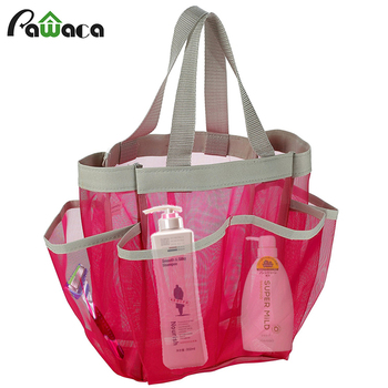Portable Quick Dry Shower Caddy Tote Bag Hanging Toiletry Mesh Bag with 7 Pocket Bathrooms Organizer for DormGymCampTravel tote bag